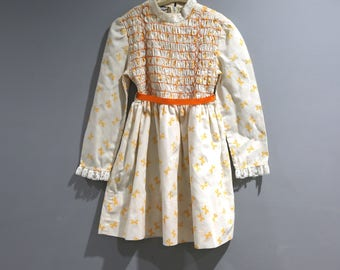 Vintage Polly Flinders Dress Fits Youth Girls Size 5 Gold Bows Smocked