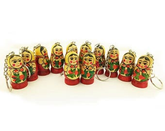 Russian Traditional Matryoshka KEYCHAINS HAND Painted on Solid Wood in Russia. WEDDING, Party favors, Stockings. QUALITy Gifts. Ship fromUsa
