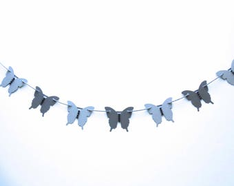 Butterfly Garland, bridal shower decor, garden party, butterfly theme party, nature garland, bead accented butterfly garland, wedding decor
