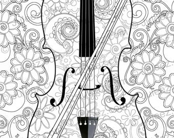 NEW Violin Flowers Printable Coloring Poster Adult Page Line