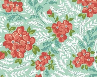 1 Yard Hazel VINTAGE STYLE FLORAL 1940's Aqua Coral Repro Retro Vintage Allison Harris of Cluck Cluck Sew Windham Fabric Quilting Sewing