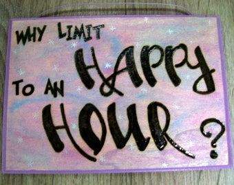 "Woodburned Sign - ""Happy Hour"""