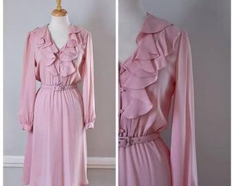 ON SALE 80s 90s Sheer Ruffled Blush Pink Dress