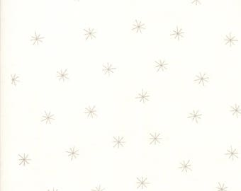 15 Inch End of Bolt Remnant Merrily Snowy Stars in Snow and Chill Grey,  Gingiber, 100% Cotton, Moda Fabrics, 48213 14