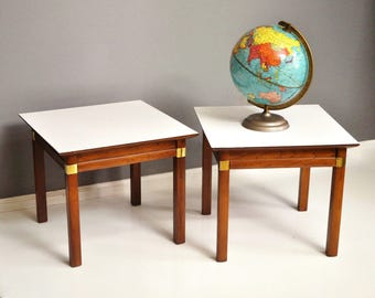 Mid-Century Pair of J.B. Van Sciver Wood and Brass Side Tables