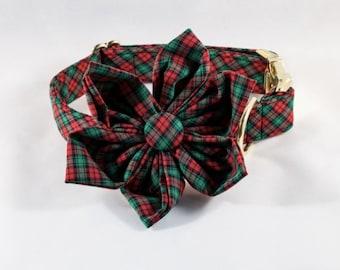 Holiday Cheer Christmas Plaid Girl Dog Flower Bow Tie Collar