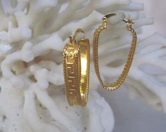 Yellow Gold Metal Greek Key Ribbon with Metal Bead Worked Sides Oblong Earrings