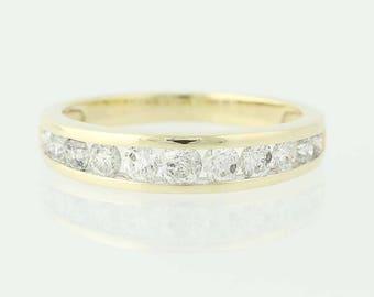 Diamond Wedding Band - 10k Yellow Gold Ring Women's .70ctw U0310