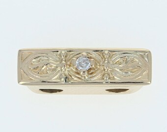Diamond-Accented Slide Charm - 14k Yellow Gold Etched Round Cut U1903