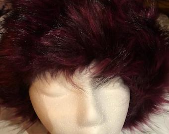 Vintage Burgundy faux fox fur Russian Deco Trapper Hat