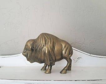 Vintage Brass Buffalo // Solid Brass Bison