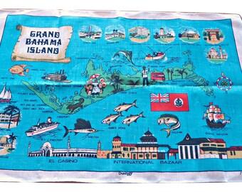 Tea Towel Souvenir Tea Towel Grand Bahama Island Linen
