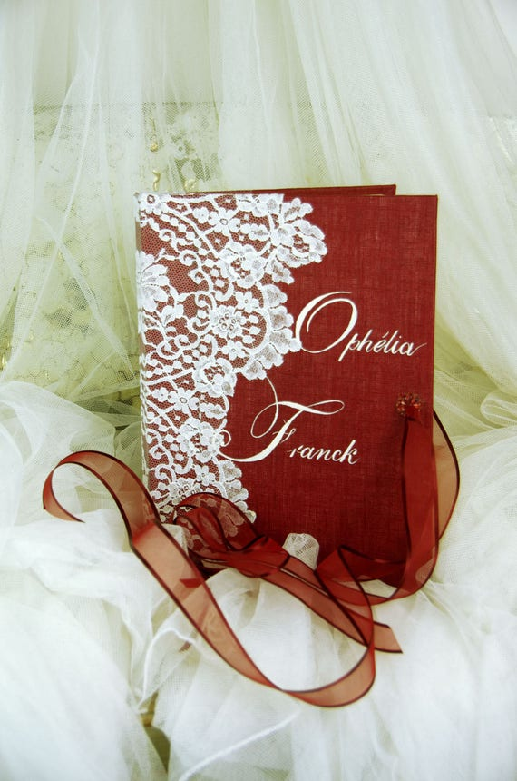 "Guest book ""Nuage de Dentelle"" lace from Le Pas de Calais french lace  with your name Personalized"