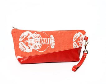 red leather purse, lobster patterned pouche, evening bag, clutch bag, red leather case, wristlet bag, orange pouch, travel case cosmetic bag