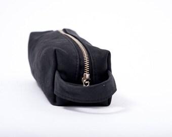 Black leather pencil case, leather make up case, travel case, leather cosmetic case, leather shaving bag, man leather pouche, gift idea