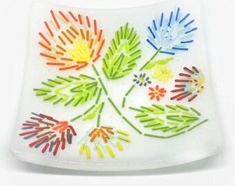 Foral Folk Art Glass Plate
