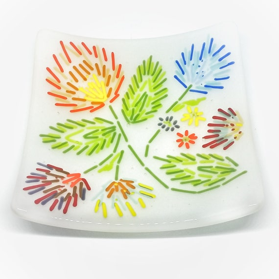 Foral Folk Art Glass Plate