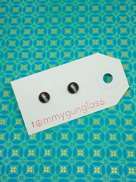 Tiny Brown Glass Stud Earrings