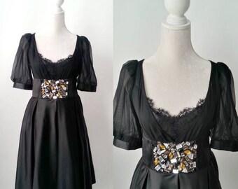 15% OFF SALE Retro Black Silk Party Formal Dress by Dorian Ho Dress