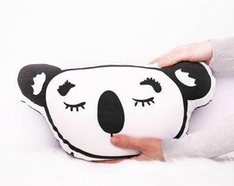 Koala softie plush toy cushion throw pillow - Kids beds - Kids rooms - Nursery decor - Black + White - Kids throw pillow - Australia EtsyAU