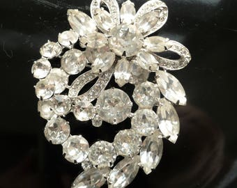 Vintage EISENBERG Ice Rhinestone Brooch Huge Clear Round Marquise Silver Signed