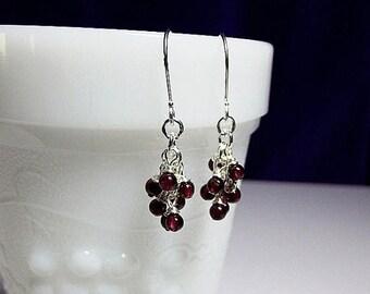 30% OFF SALE thru Sun Red Garnet Gemstone Cluster Drop Earrings, Christmas Gift, Mom Sister Bridesmaid Girlfriend Jewelry Gift, Pretty