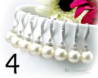 4 Bridesmaid Pearl Earrings Bridesmaid Gift Wedding Jewelry Pearl Bridal Earrings Swarovski Crystal Pearl Earrings Wedding Gift 15% Discount