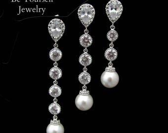 Long Pearl Bridal Earrings Cubic Zirconia Bride Earrings White Crystal Wedding Jewelry Swarovski Pearl Wedding Earrings CZ Bridesmaid Gift