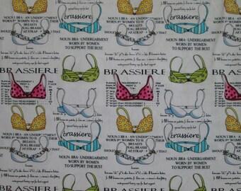 Bra Fashion Brassiere Defintion Measurements White Cotton Fabric Fat Quarter or Custom Listing