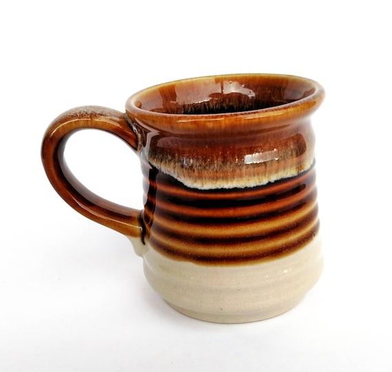 Vintage 1970's Brown Drip Ceramic Pottery Mug