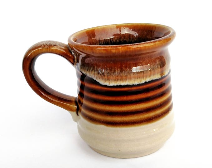 Vintage 1970's Brown Drip Ceramic Pottery Mug