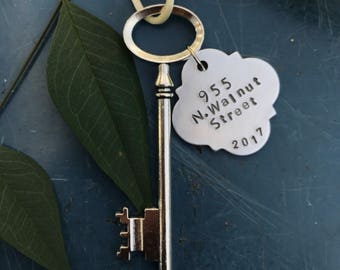 Skeleton Key ornament, First home ornament, Personalized housewarming gift,  new home ornament, wedding gift