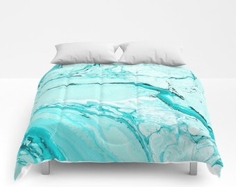 Blue Marble Duvet Cover or Comforter, Bedspread Twin Full White Black Aqua Turquoise Stone Texture Girls Dorm Bedding Teen Room Decor Bright