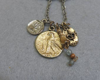 1980s Old Coin Charm Necklace