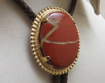 Vintage Big Oval Red Jasper Bolo Tie