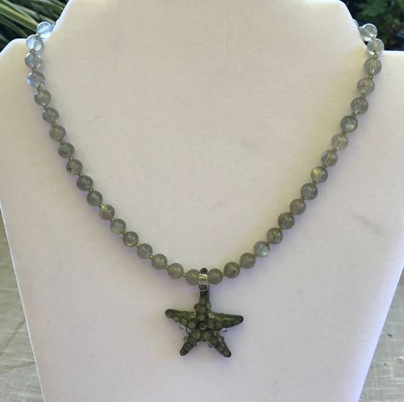 Labradorite and Art Glass Starfish Necklace