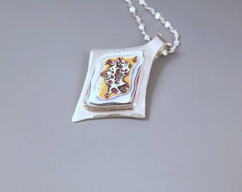 Fordite- Detroit Agate- Rare Little Bubbles- One of A Kind- Metalsmithed- Sterling Silver- Michigan Made- Fordite Pendant/Necklace