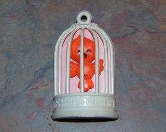 Vintage AVON Bobbin Robin Plastic Pin 1975 Bird in a Cage Birdcage Brooch Childrens Jewelry
