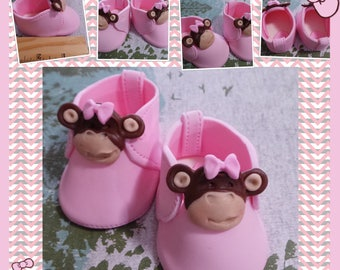 Pink MONKEY baby girl shoes. Cake Topper Made of Vanilla Fondant ready to place on your cake or table centerpiece