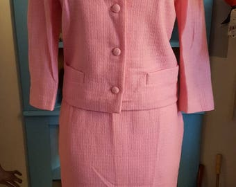 1950s pink wool Wendy Lane skirt suit
