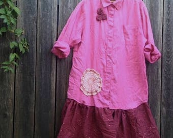 PLUS XL pink wedding mother of bride shabby ruffle gypsy chic country fashion barn prairie vintage roses burgundy tunic dress romantic sweet