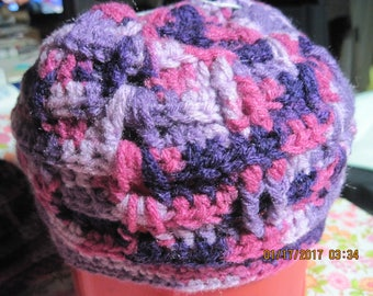 Hand Crocheted Mother & Daughter Purple Verigated Beanie Style Hat/Cap...224h/230h