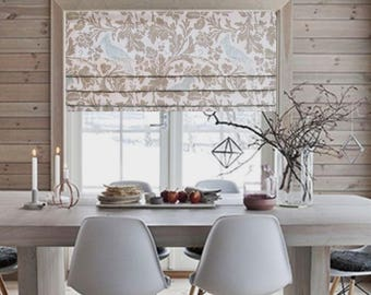 Faux Roman Shade Lined Mock Valance Premier Prints Barber Taupe/ Powder Blue Custom Sizing Available!