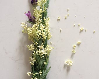 Limited Edition Mindful Spring smudge bundle with juniper, lavender and silver star lilac for energy clearing, cleansing, Reiki and meditati