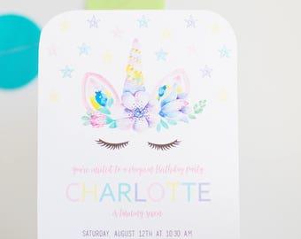 Magical Watercolor Unicorn Birthday Party Invitation (Digital)