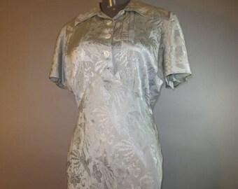 1940's Silk Gown, Lingerie  // KAKUYO & Co. //  Light Blue Silk Brocade, Collar, Front Buttons, Empire Waist, Bias Cut, Maxi Length...large