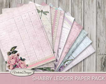 Shabby Ledger Paper junk journal pages printable 8.5 x 11 inch paper crafting scrapbooking instant download digital sheet - VDPASC1727