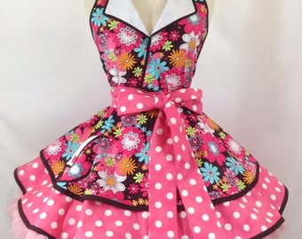 June Cleaver Peace Flowers Pin Up Apron, Floral Retro Apron, Cosplay 50's Housewife, Woman's Apron