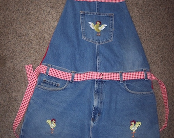 Embroidered Jeans Chicken Apron