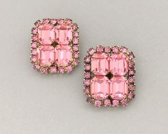 Rhinestone Clip On Earrings - Pink Rhinestone Earrings - Statement Clip On Earrings - Vintage 1950s Rhinestone Jewelry Gift - Mid Century
